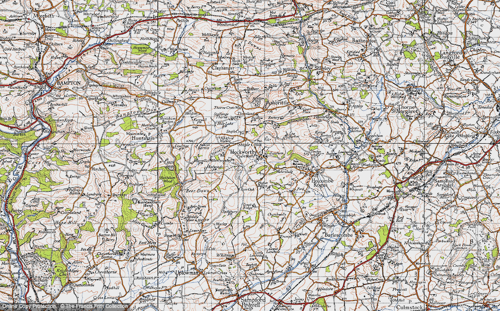 Old Map of Hockworthy, 1946 in 1946