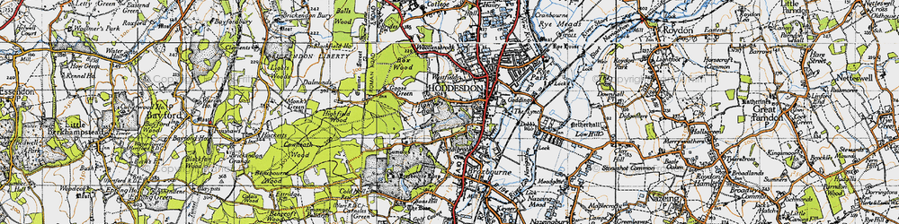Old map of Hoddesdon in 1946