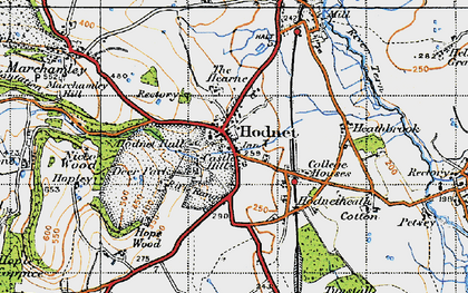 Old map of Hodnet in 1947