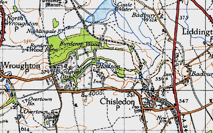 Old map of Hodson in 1947