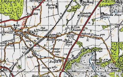 Old map of Hodthorpe in 1947