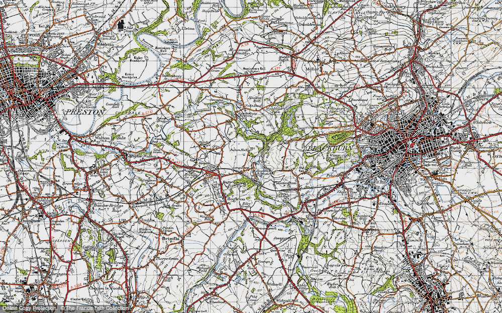 Old Map of Historic Map covering Woodcock Hill in 1947