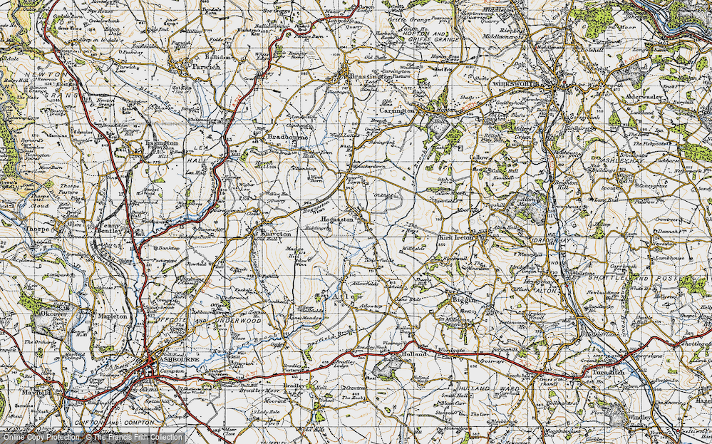 Old Map of Historic Map covering Atlow Winn in 1946