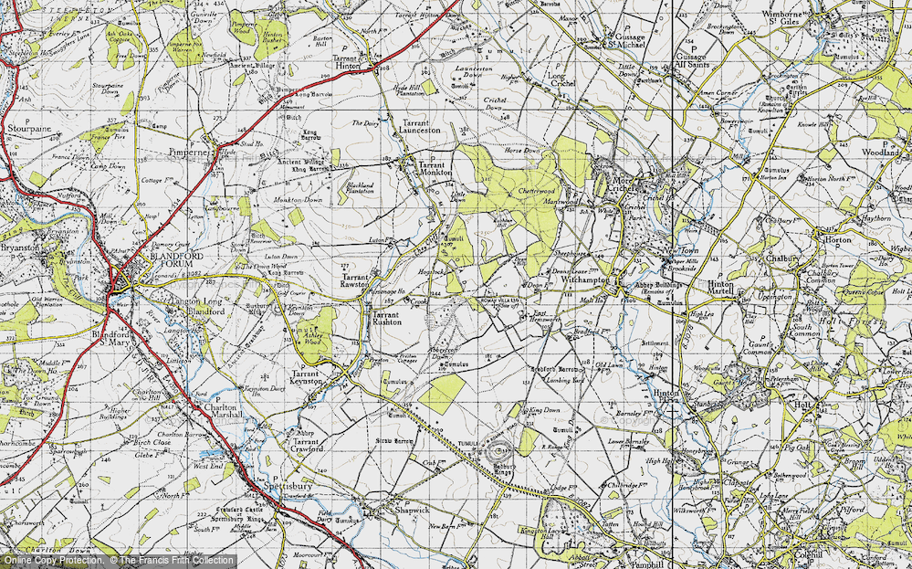 Old Map of Historic Map covering Abbeycroft Down in 1940