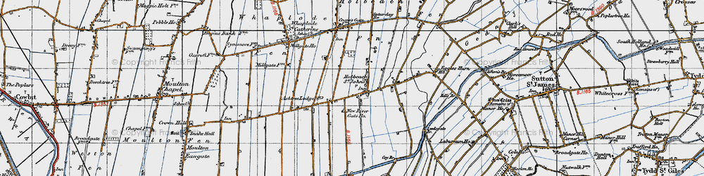 Old map of Whaplode Fen in 1946
