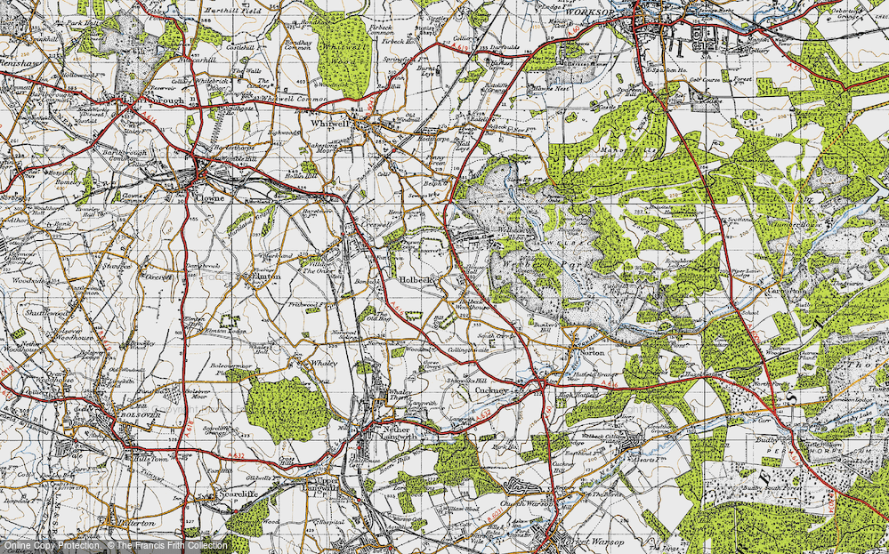 Old Map of Historic Map covering Woodhouse Hall in 1947