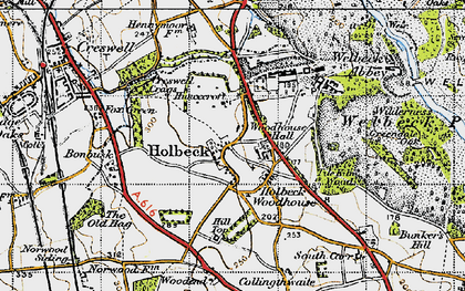 Old map of Tile Kiln Wood in 1947