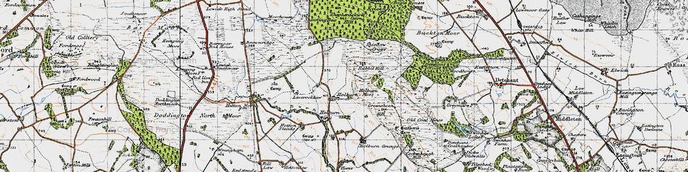 Old map of Laverock Law in 1947