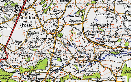 Old map of Holcombe in 1946