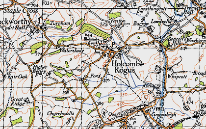 Old map of Holcombe Rogus in 1946