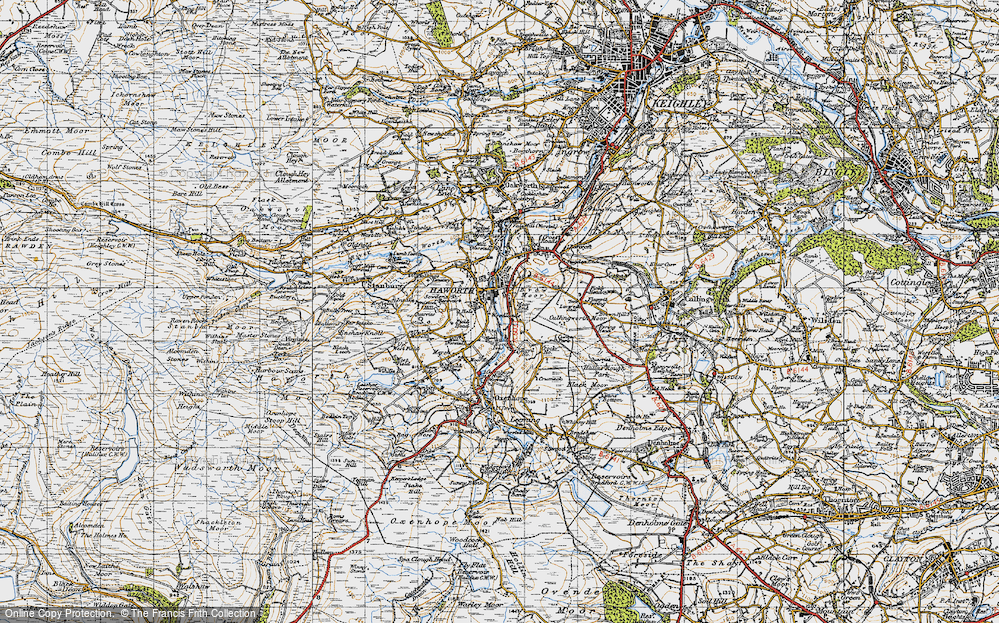 Old Map of Historic Map covering Woodlands in 1947