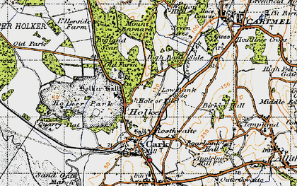 Old map of Holker Hall in 1947