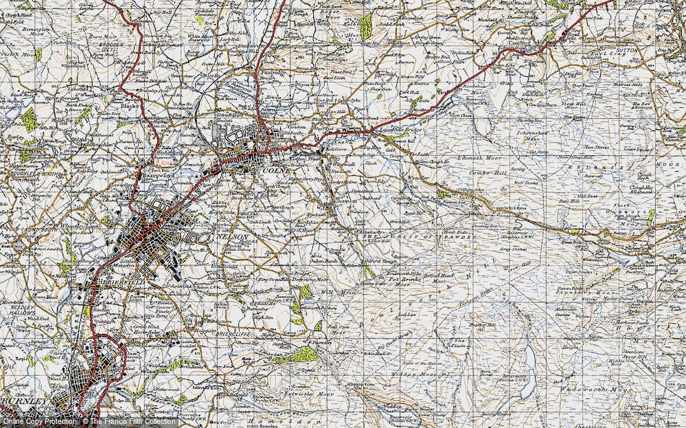 Old Map of Historic Map covering Alder Hurst in 1947