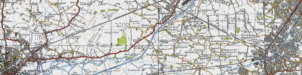 Old map of Hollins Green in 1947