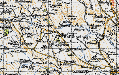 Old map of Fawside Edge in 1947