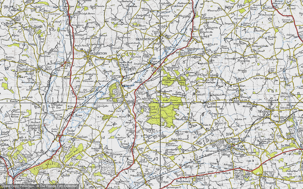 Old Map of Historic Map covering Ashclyst Forest in 1946