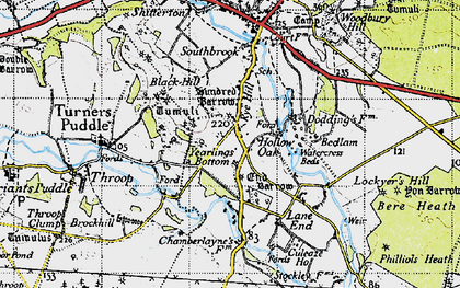 Old map of Yearlings Bottom in 1945