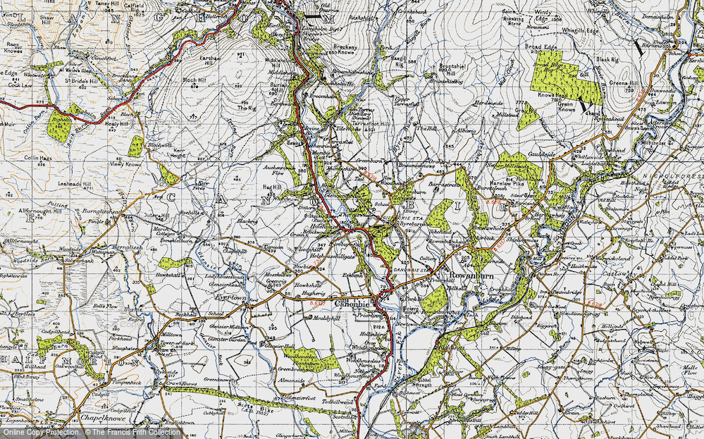 Old Map of Historic Map covering Auchenrivock Flow in 1947