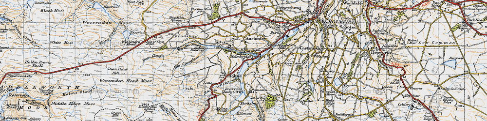 Old map of Holmbridge in 1947