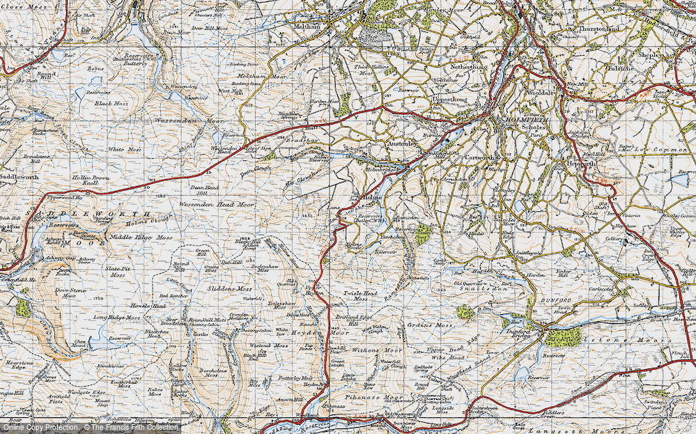 Old Map of Historic Map covering Tooleyshaw Moss in 1947