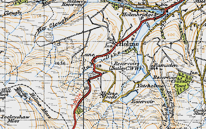 Old map of West Withens Clough in 1947