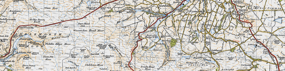 Old map of Tooleyshaw Moss in 1947