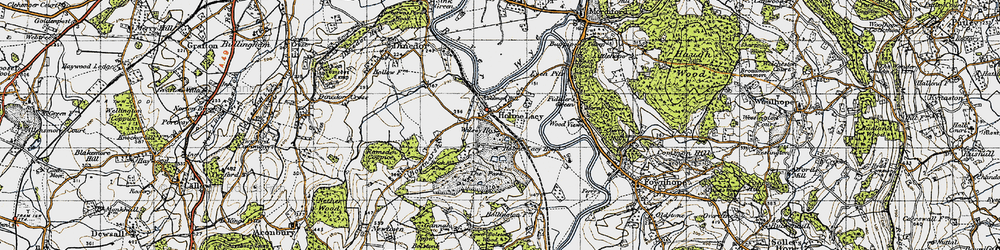 Old map of Holme Lacy in 1947