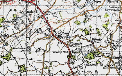 Old map of Woonton Ash in 1947