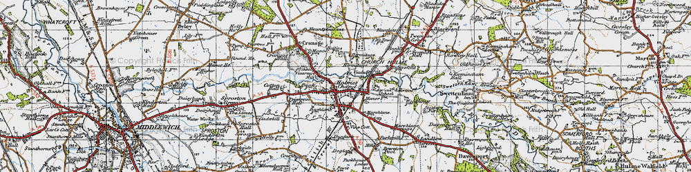 Old map of Holmes Chapel in 1947
