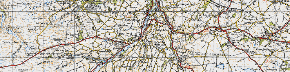 Old map of Holmfirth in 1947