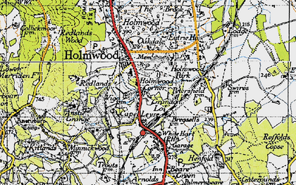 Old map of Holmwood Corner in 1940