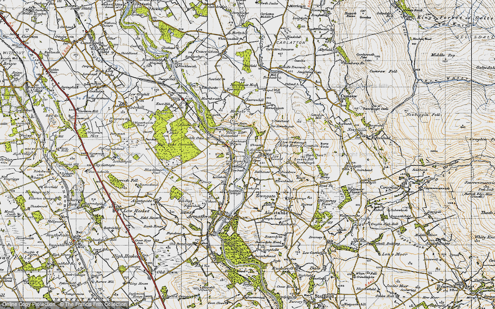 Old Map of Historic Map covering Thwaites in 1947