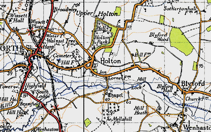 Old map of Holton in 1946