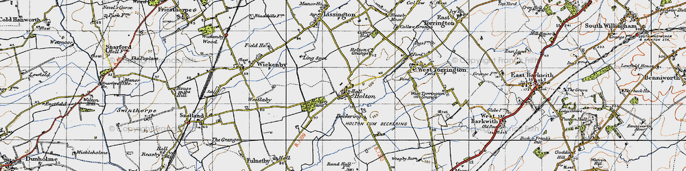 Old map of Wickenby Aerodrome in 1946
