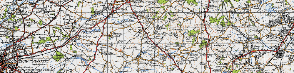 Old map of Yew Tree Ho in 1947