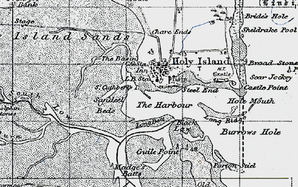 Old map of Holy Island in 1947