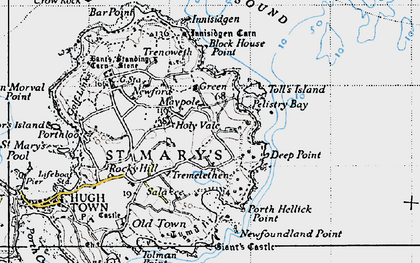 Old map of Toll's Island in 1946
