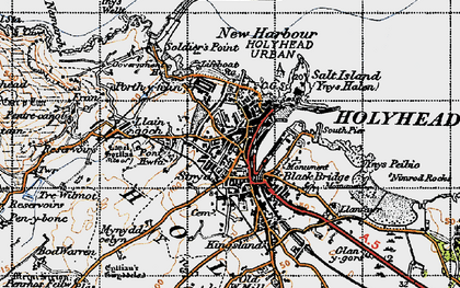 Old map of Holyhead in 1947