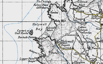 Old map of Holywell Bay in 1946