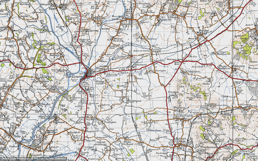 Old Map of Historic Map covering Tirle Brook in 1946