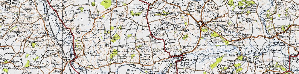 Old map of Wissington Grange in 1946