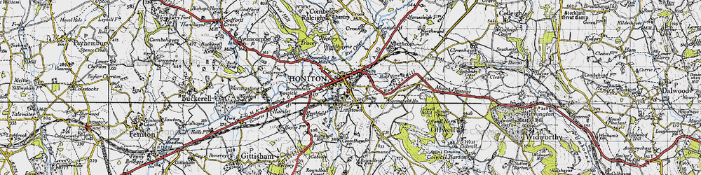 Old map of Honiton in 1946