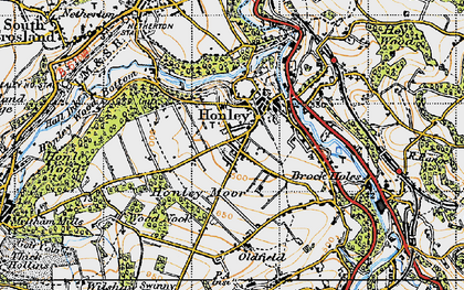 Old map of Honley in 1947