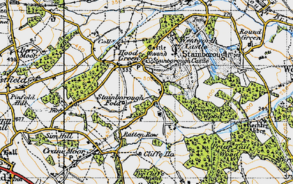 Old map of Hood Green in 1947