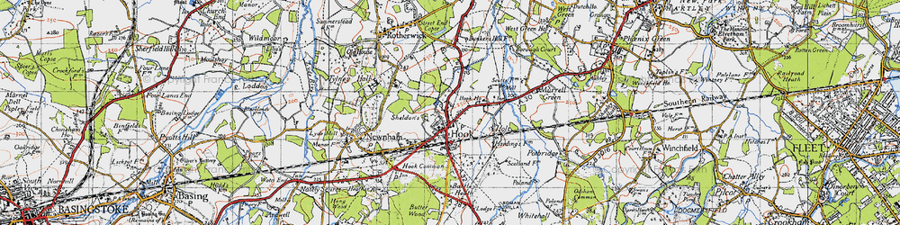 Old map of Hook in 1940