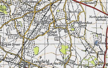 Old map of Hook Green in 1946