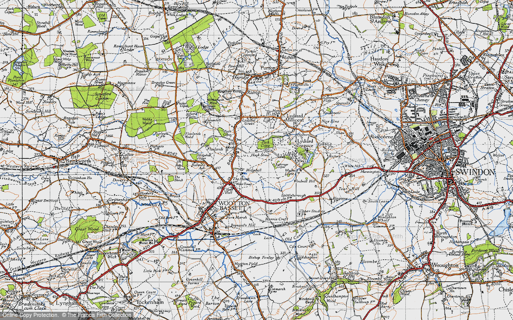 Old Map of Historic Map covering Letterage Copse in 1947