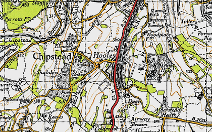 Old map of Hooley in 1945