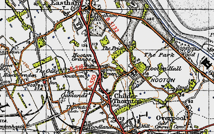 Old map of Hooton in 1947