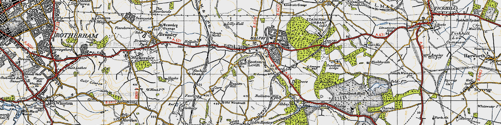 Old map of Wood Lee in 1947